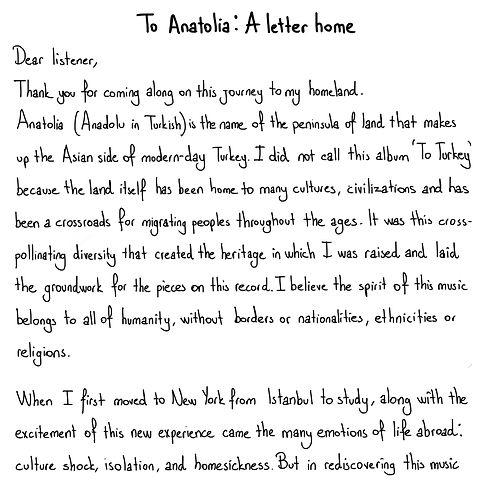 To anatolia a letter home 1