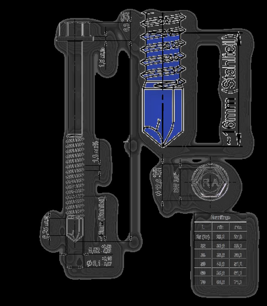 Zeichnung einer Bohrschraube für die Befestigung von Sandwichelementen. Bohrspitze und Geweindeformer sind blau hervorgehoben.