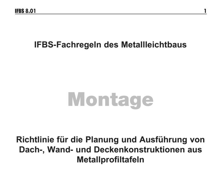 Deckblatt der Richtlinie für die Planung und Ausführung von Dach-, Wand- und Deckenkonstruktionen aus Metallprofiltafeln