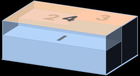Schematische Darstellung eines Industriegebäudes mit stark vereinfachter Dachgeometrie