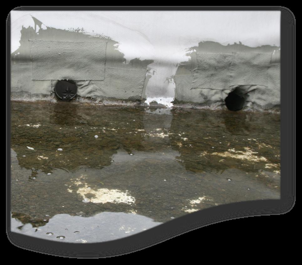 Zwei Dachabläufe, die so hoch angeordnet wurden, dass sich davor das Regenwasser staut. Im Wasser sind Laubreste und Algen zu erkennen.