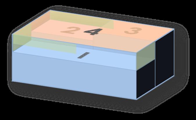 Schematische Darstellung eines Industriegebäudes mit vereinfachter Dachgeometrie, Kenntlichmachung der zusätzlichen Wandflächenh
