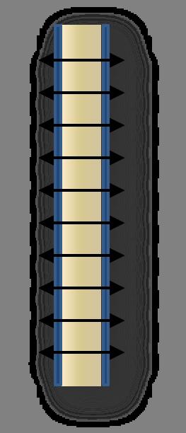 Schematische Darstellung einer Vernadelung abgelöster Deckbleche eines Sandwichelements
