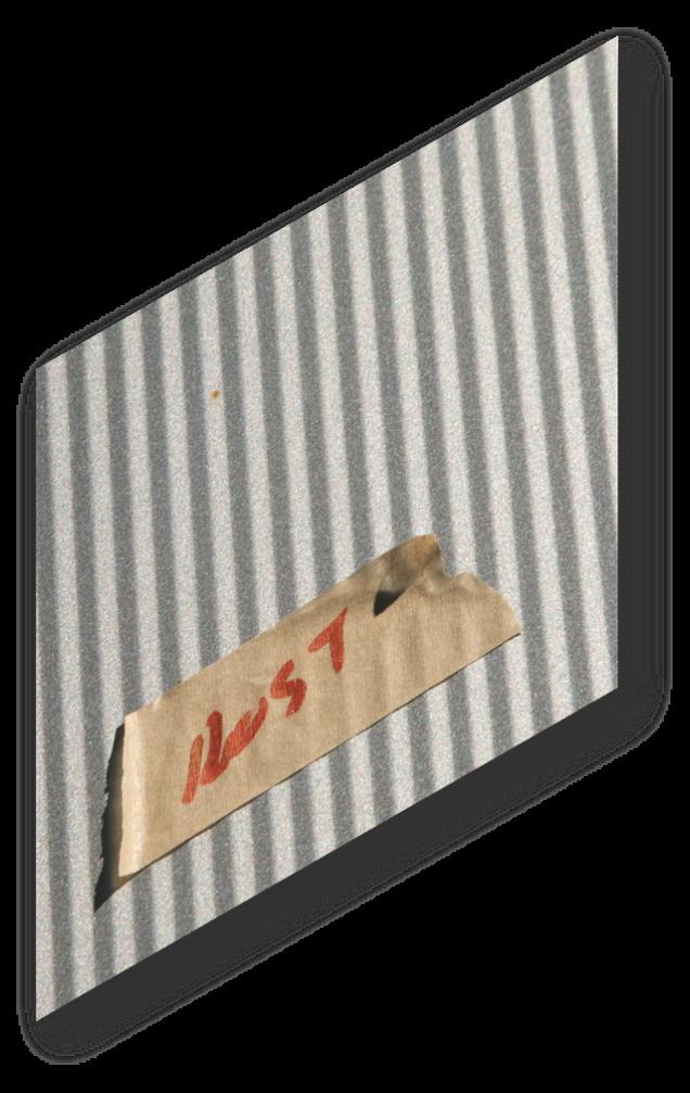 """Sandwichfassade mit kleinem Rostflecken und Kennzeichnung """"Rost"""""""