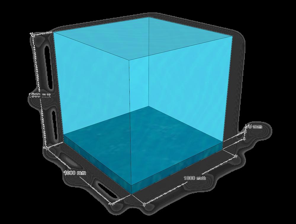 Schematische Darstellung eines Kubikmeters