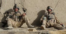 Dougie with Sergeant John Amer who died on 30 November 2009