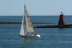 Aurora beating out of the Menai Straits