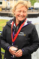 Pip Hare at the finish of the 2016 Three Peaks Yacht Race