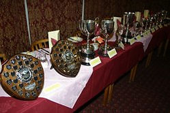 Trophies at the annual presentation dinner in the Thee Peaks Yacht Race