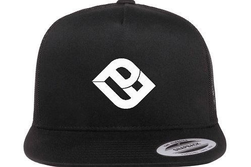 Black Flat Bill Snap Back Trucker Hat With White Logo