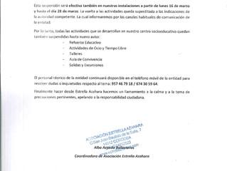 MEDIDAS PREVENTIVAS EN ESTRELLA AZAHARA COVID-19