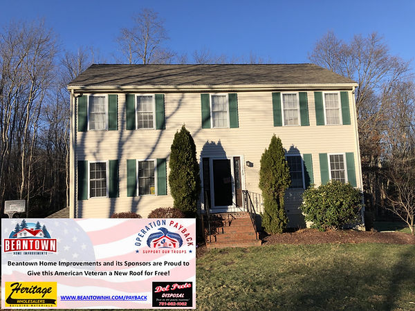 Beanown Home Improvements FREE Veteran Roof - thank you for your service