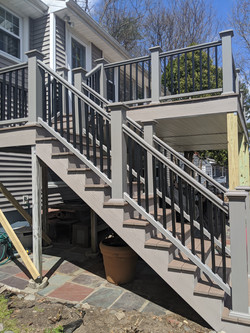 Azek Gray Railing with Black Balusters,