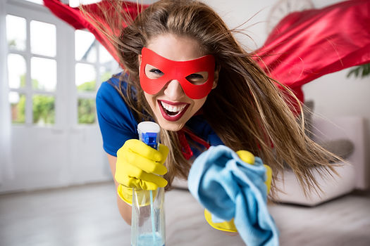 Woman superhero flying through the room