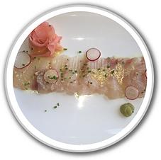 baja kanpachi sashimi in white porthole.