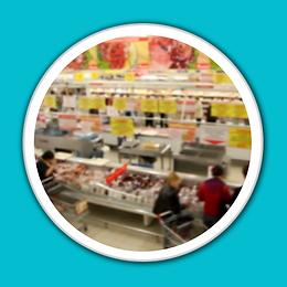 Supermarket white porthole blue backgrou
