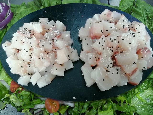 Baja Kanpachi Ceviche on Tray with Garni