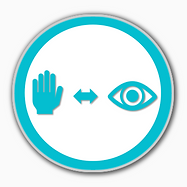 Hand Eye Coordination Symbol 3D in blue