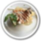 baja kanpachi sashimi tacos in white por