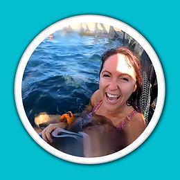 Jess Barron in white porthole with blue