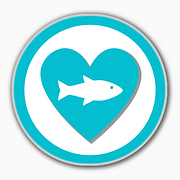 seafood heart health icon in blue portho