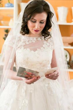 Katie reading her groom's letter