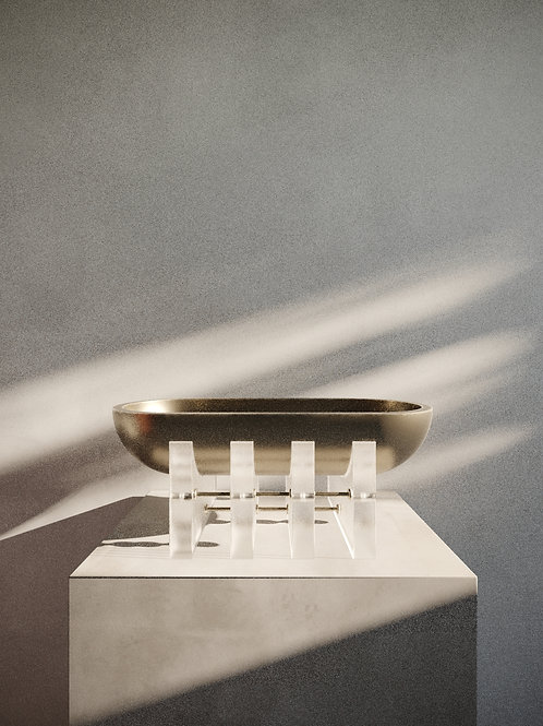 ACIS VESSEL- Patinated Bronze & Frosted Acrylic