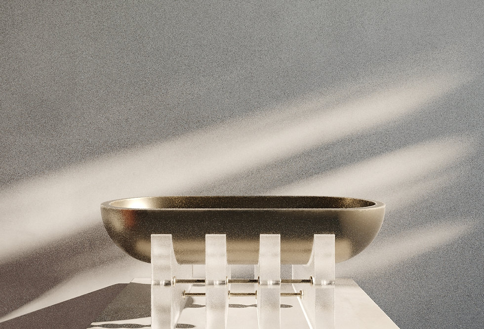 ACIS VESSEL- Brushed Pine Wood & Frosted Acrylic