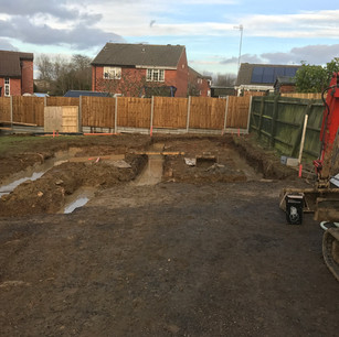 Laying foundations, building, Daventry
