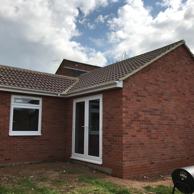 Extension nearing completion, Bodleian Close, Daventry