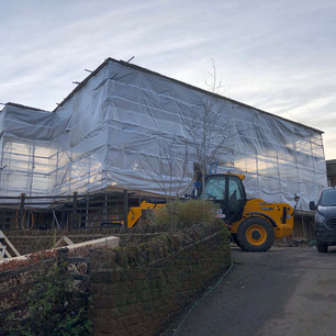 Scaffolding, building work
