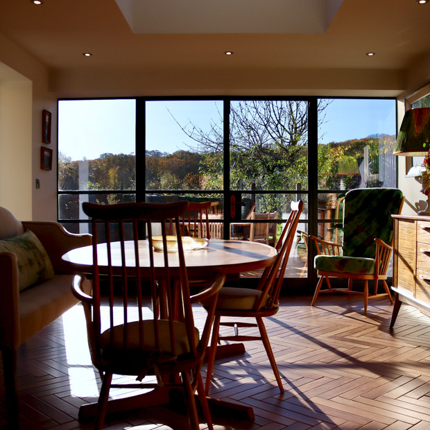Dining room extension. Glass wall.