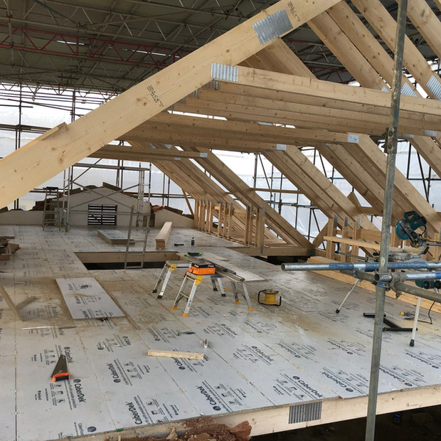 Roof beams in progress