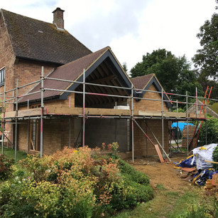 House extension, scaffolding