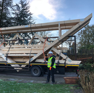 Roof beam delivery, Preston Capes