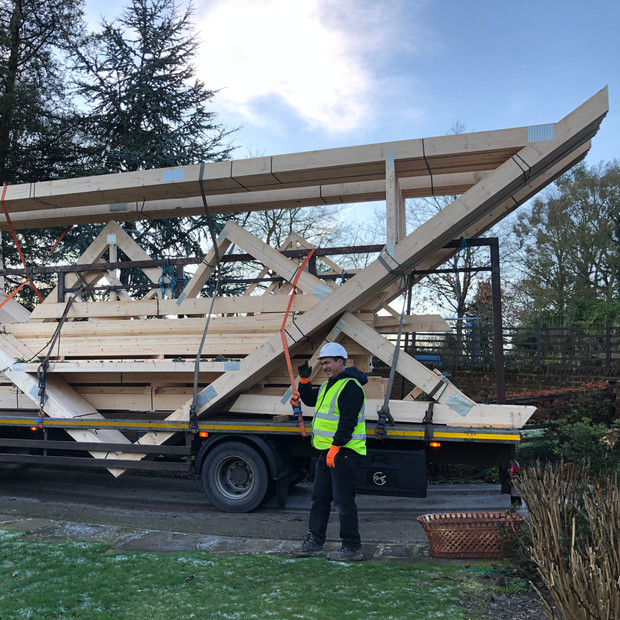 Roof beam delivery, Preston Capes