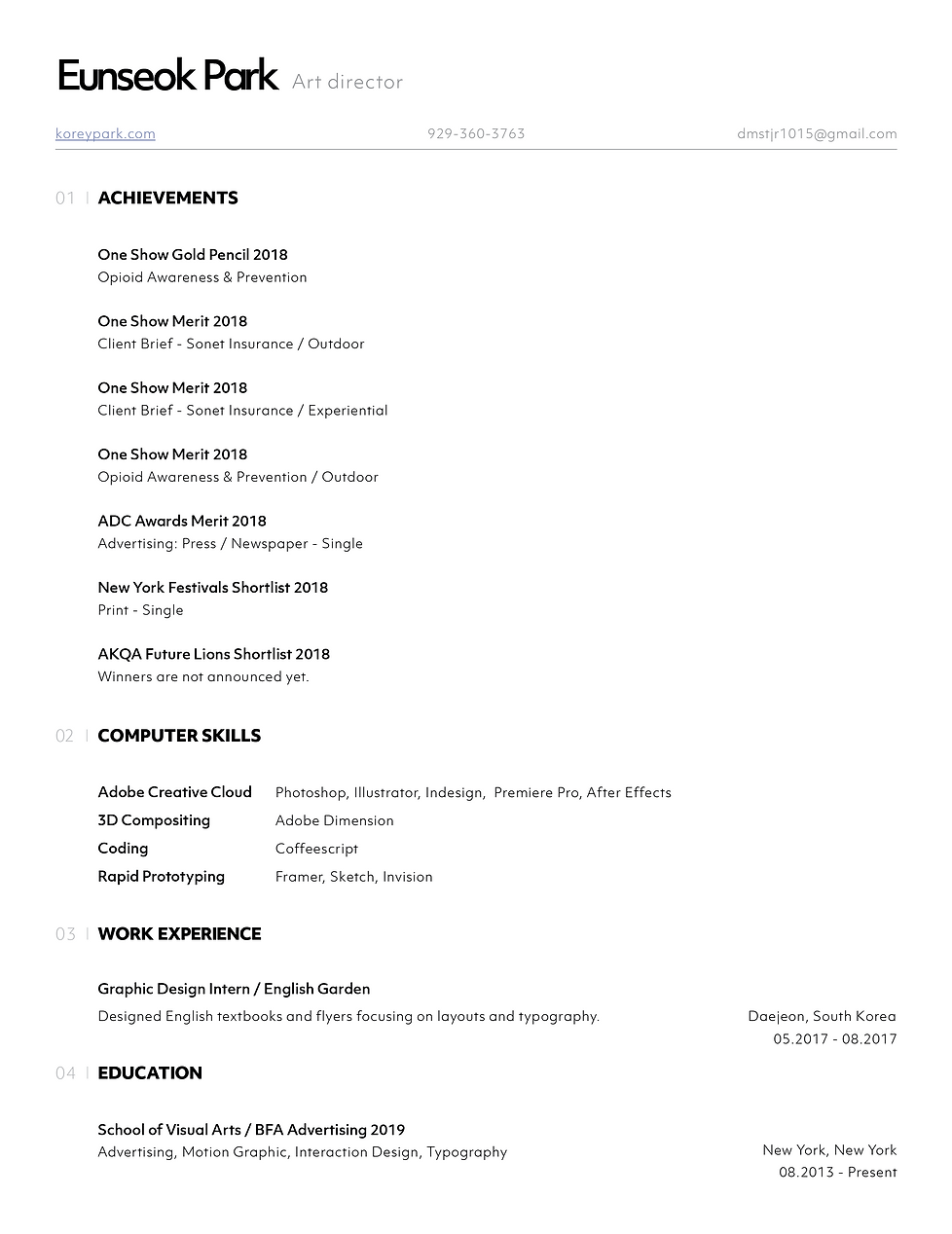 koreypark | RESUME