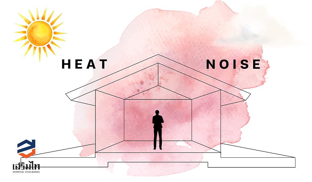 ช่วยลดความร้อนและดูดซับเสียง
