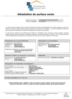 CERTICAT DE SURFACE HP-1