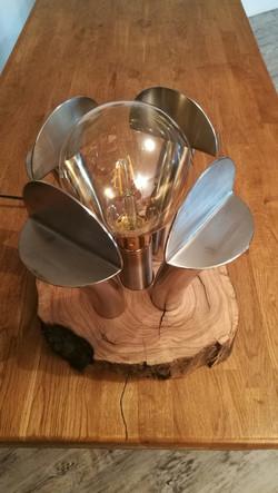Lampe Inox et bois