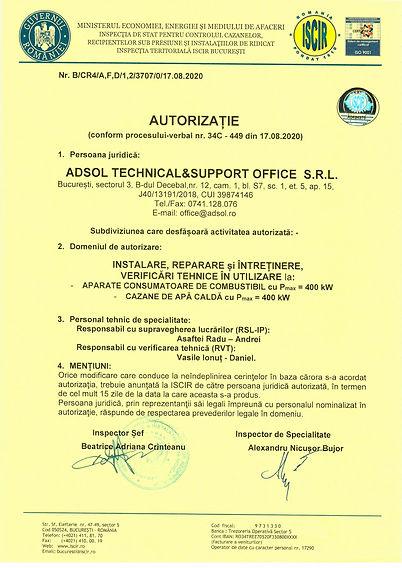 autorizatie ISCIR Instalare si verificare tehnica periodica centrala termica