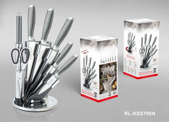 RL-KSS670N 8 Pcs Stainless Steel Knife Set with Rotating Stand