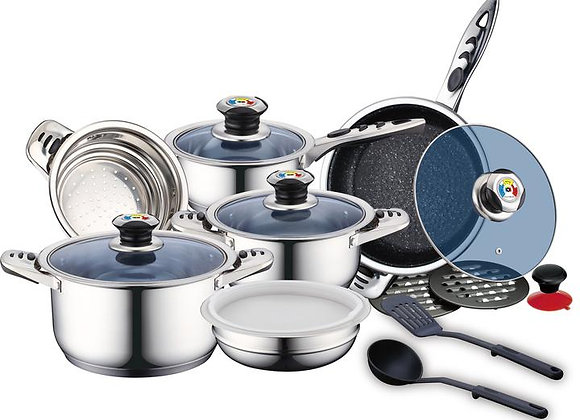 16 Pcs Stainless Steel Cookware Set RL-16RGNM