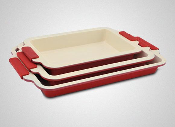 3 Pcs Ceramic Coating Roasting Pan Set