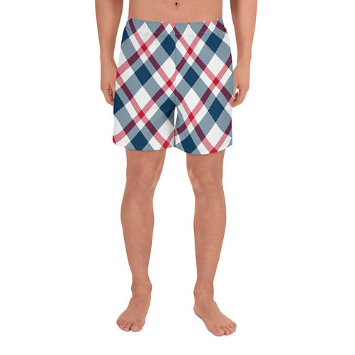 Blue and Red Plaid Men's Athletic Long Shorts