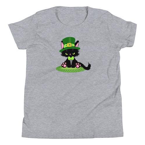 Black Kitten Leprechaun Youth Short Sleeve T-Shirt
