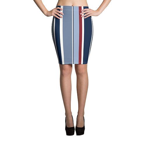 Nautical Striped Pencil Skirt