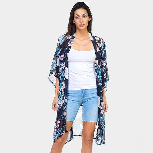 Floral Print Belt Kimono
