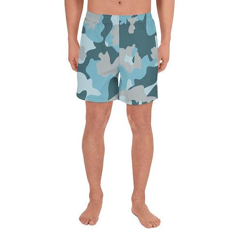 Blue Camo Men's Athletic Long Shorts