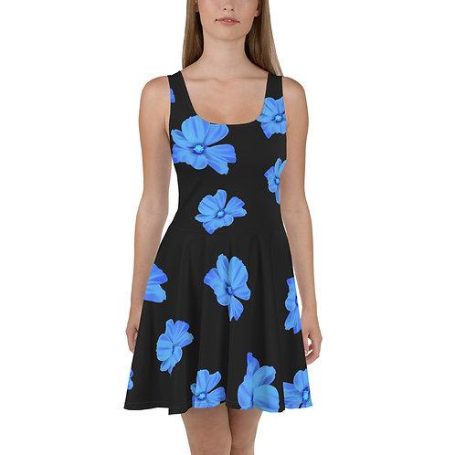 Bright Blue Floral Skater Dress